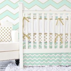 Love the gold and mint together.   Caden Lane Baby Bedding with mint and gold chevron! #chevron #gold #babybedding
