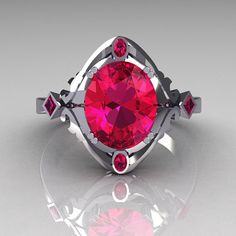Modern Antique 950 Platinum 1.75 Carat Oval Pink