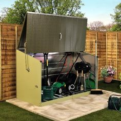 W x 3 Ft. D Overlap Pent Metal Tool Shed Trimetals Siding Colour: Light Green / Green, Floor: Yes Storage Shed Designs Ideas, Storage Sheds For Sale, Shed Design Plans, Shed Storage, Shed Plans, Small Storage, Tool Storage, Storage Organization, Garden Storage Units
