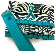 Teal ribbon duct tape ruffle coin purse made for Hope for Heather :)    www.rosesforbc.org  www.facebook.com/rosesforbc