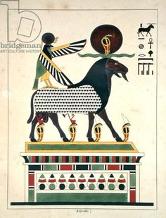 The god Amon-Ra, illustration from 'Pantheon egyptien: collection des personnages mythologiques de l'Ancienne Egypte' by Jean-Francois Champollion, published c.1986 (colour litho)