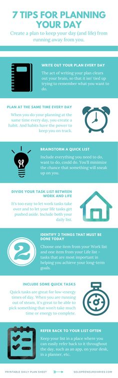 Productivity Tips | Is time management something you struggle with? Do you need help to stay focused? Here are 7 ideas to help with daily planning, plus grab a free printable daily planner! | Organization | Business | Things to Do | Entrepreneur | Infographic | Organizing Ideas #productivity #productivitytips #timemanagement