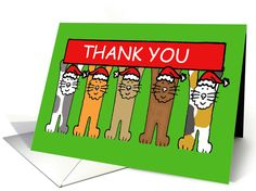 Cartoon cats thank you for the Christmas gift . card