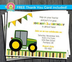 Tractor Birthday Invitation / Tractor Party by ForeverYourPrints