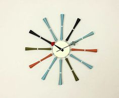 George Nelson Midcentury Modern Style Multicolor Spindle Clock