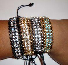 Swarovski crystal link macrame bracelet