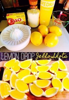 Lemon Drop Jello Shot wedges - These are so easy and so addicting. Lemon Drop Jello Shot wedges - These are so easy and so addicting. Lemon Jello Shots, Jello Pudding Shots, Jello Shot Recipes, Alcohol Drink Recipes, Summer Jello Shots, Alcohol Jello Shots, Watermelon Jello Shots, Strawberry Jello Shots, Easy Jello Shots