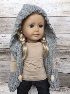 CROCHET PATTERN  18 inch Doll Hooded Pocket Scarf by FuzzyBundle