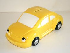"11"" Long Ceramic Yellow Volkswagon Beetle Styled Bank Cute | eBay"