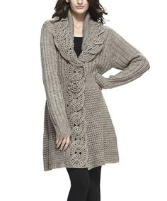 Look what I found on #zulily! Oatmeal Wool-Blend Crochet Duster #zulilyfinds