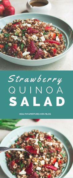 This make ahead recipe for Strawberry Quinoa Salad is the perfect spring salad pairing sweet strawberries with earthy quinoa.