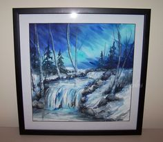 Winter Falls Original Framed Watercolor Painting Art Landscape Snow Blue Reineck #Impressionism
