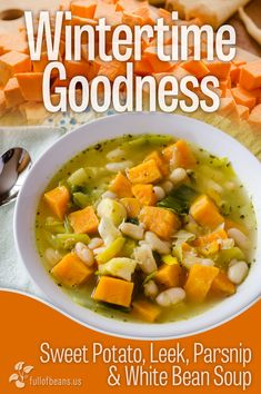 Fabulous Vegan Sweet Potato and Leek Soup! This one is filled with yummy savory goodness that you can be enjoying in less than an hour. Enjoy the comfort of leeks, sweet potatoes, parsnips, and white beans today