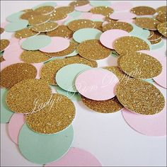 Instantly decorate wedding, bridal or baby shower and birthday party tables in trendy blush pink, mint green and gold glitter party confetti. We hand punch each piece from the highest quality card sto Birthday Party Tables, First Birthday Parties, First Birthdays, Birthday Ideas, Diy Birthday, Happy Birthday, Sparkle Party, Gold Party, Glitter Party