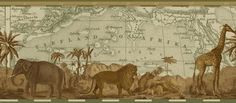 Wall paper border for the Globetrotter    via EbayVintage Explorer Map & African Animals  Wallpaper Border