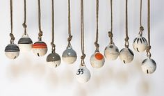 Assorted Jingle Bell Ornaments- Stoneware, Cotton