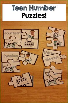 Teen Number Puzzles, activities and printables!! FUN and HANDS-ON ways to practice those pesky TEEN numbers