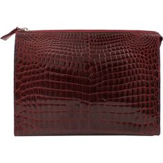 HELENE HANDBAGS Alligator Zip Clutch with Strap (10,660 PEN) ❤ liked on Polyvore featuring bags, handbags, clutches, purses, accessories, burgundy, alligator purse, burgundy handbag, strap purse and zipper purse