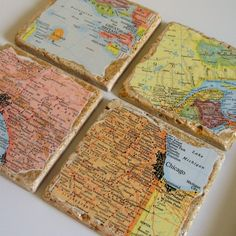Coasters with maps of your life's journey.  Could be favorite vacation spots, where your children were born, where you met, married, honeymooned and retired locations, etc.
