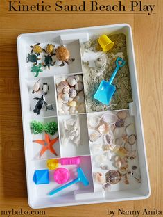 Making up a kinetic sand sensory tray is pretty simple to do. It's fun to play with and because you use kinetic sand it's easy to clean up if it gets spilt. Play Therapy Activities, School Age Activities, Sensory Activities Toddlers, Playdough Activities, Infant Activities, Sensory Play, Kinetic Sand Box, Sand Therapy, Heuristic Play