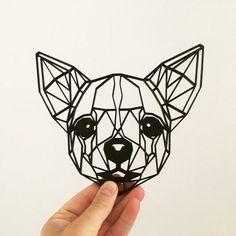 Chihuahua Tattoo, Chihuahua Art, Dog Tattoos, Animal Tattoos, Rock Painting Ideas Easy, Geometric Tattoos, Origami, Art Drawings, Chihuahuas
