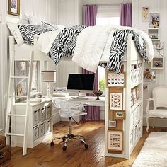 I love how the desk is underneath, the open bookshelves on one end and the pin board on the side. I can probably convert our loft to look like this. by judy