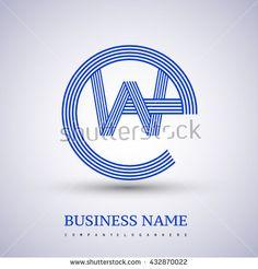 Letter EW or WE linked logo design circle E shape. Elegant blue colored letter symbol. Vector logo design template elements for company identity. - stock vector