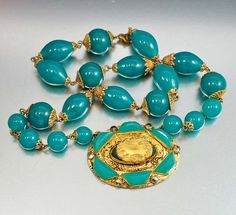 Marcasite Glass Czech Art Deco Necklace Gold Filigree Vintage Jewelry