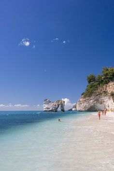 Beach in Baia delle Zagare resort, Gargano, Puglia, Italy. Crystal clear waters and beautiful sandy beaches. Perfect!