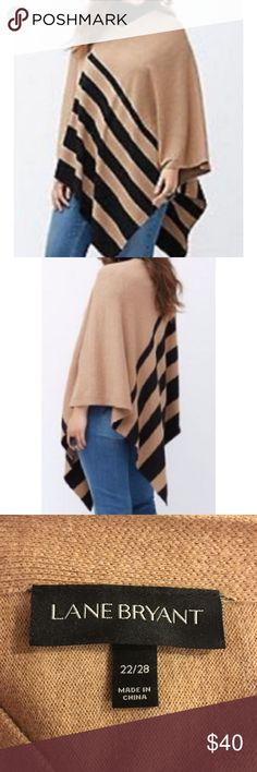 ef67b0b3793 Lane Bryant plus size stripe sweater poncho 22 28 Looks awesome with  leggings or skinny jeans and boots! Camel and black colored stripe  asymmetrical poncho ...