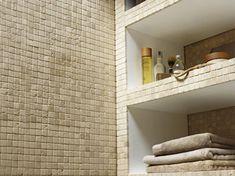 Mosaïque sol mur salle de bain en pierre couleur ivoire