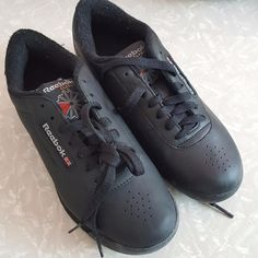 Reebok Black Classic Princess Womens Sneakers #2-7344 Lace-up Shoes Sz 6.5M New #Reebok #WalkingHikingTrail