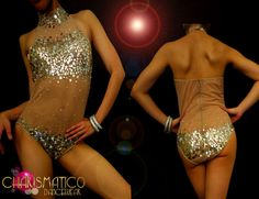 CHARISMATICO Nude Illusion mock turtle neck sexy silver sequin dance leotard #CHARISMATICO