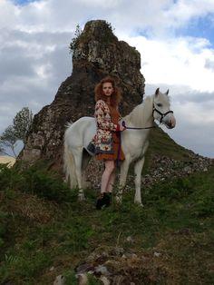 Emer and a pony. (Scotland)
