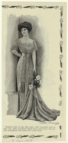 Evening gown of pale satin. (1908)
