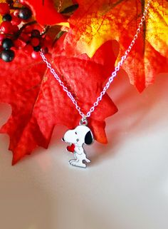 Snoopy Necklace 'Snoopy's Heart' - Disney Character - Metal Pendant - Sterling Silver 'O' Chain - Cute Necklace - With Gift Box Snoopy Necklace Snoopy's Heart Disney Character Red Heart Under 25 Gift Box For Her For Him For Girls For Children White Pendant Cute Necklace 22.00 USD #goriani