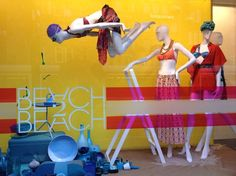 amazing display with mannequins in different poses and props