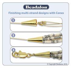 Finishing multi- strand  #Beading #Jewelry #Tutorials Beading Jewelry, Jewelry Art, Jewelry Ideas, Ms, Tutorials, Beading Techniques, Liquid Meals, Creations, Jewelry Making