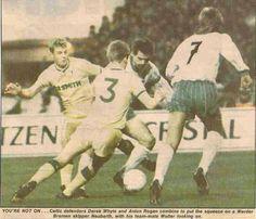 Werder Bremen 0 Celtic 0 (1-0 agg) in Nov 1988 in Bremen. Action from the European Cup 2nd Round, 2nd Leg.