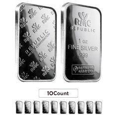 Lot of 10 - 1 oz Republic Metals (RMC) Silver Bar .999 Fine