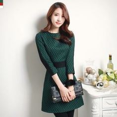 3/4-Sleeve Wave-Patterned Dress from #YesStyle <3 Romantic Factory YesStyle.com