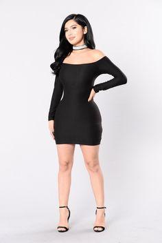 3d54c62678779 Available in Black - Rhinestone Choker - Mini Dress - Long Sleeve - Made  in. fashionnova.com