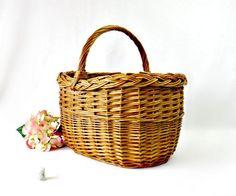 Vintage French Gathering Market Basket - Large Bent Twig Wicker Flower Girl Wedding Basket - Farmhouse Storage by GSaleHunter on Etsy