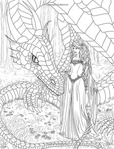 mythical mystical legend elf elves dragon dragons fairy fae wings fairies mermaids mermaid siren sword sorcery magic witch wizard coloring pages adult - Dragon Coloring Pages For Adults
