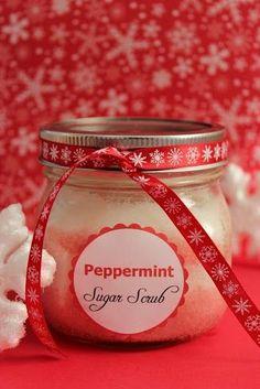 Peppermint Sugar Scrub, Peppermint Sugar Scrub recipes homemade holiday gifts, sugar scrub recipe, easy to make sugar scrub, cheap sugar scrubs, frugal gift