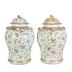 Pair of Chinese Famille Rose Porcelain Covered Jars Height 17 inches.