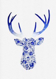 I love this design and color. NOT A PRINT Original Watercolor Deer Head Painting by theArtForYou