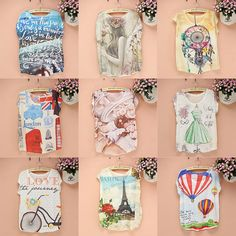 Western fashion print t-shirt women new 2014 summer top tees. I really like 6, 7, and 8.