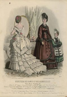 1870 Young lady preparing for her come out dressed in white maybe for her presentation to Queen Victoria with a married woman and child looking on.