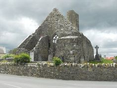 The ruins of the Aghagower Abbey and Church are located in the small village of Aghagower, Ireland. - 1199 -